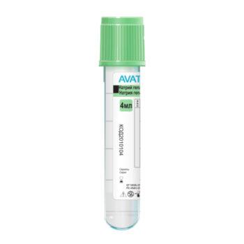 Пробирки с натрия гепарином для получения плазмы, светло-зеленые (арт 2010104), 4мл, 13*75мм